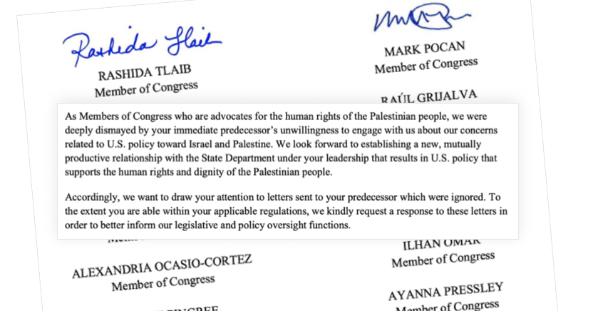 12 members of Congress tell Blinken: Take Action now on Palestinian human rights